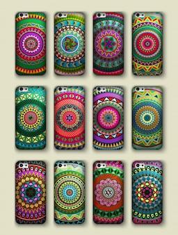 電話カバーコレクション、ボホスタイルのパターン。ヴィンテージ装飾要素。