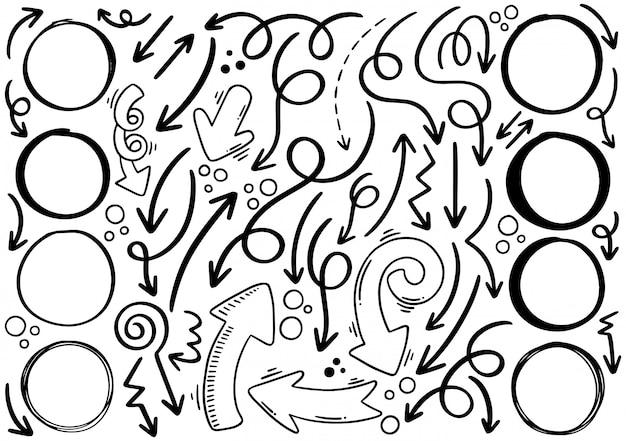 手描き落書き矢印サークル