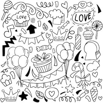 手描きの誕生日飾りパターン
