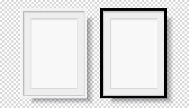 Фотореалистичная черная пустая и белая рамка