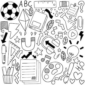 Ручной обращается набор школьных иконок украшения