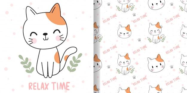 Нарисуй счастливого кота. печать бесшовные модели и открытки для текстиля для детей