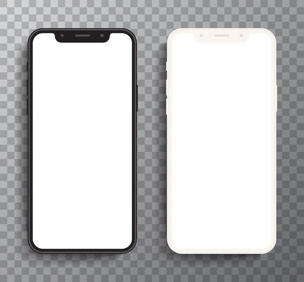 リアルな白と黒のスマートフォン現代の携帯電話の形状縁が薄いように設計されています。携帯電話、空白の画面