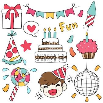 手描きパーティー落書き誕生日おめでとう装飾品。