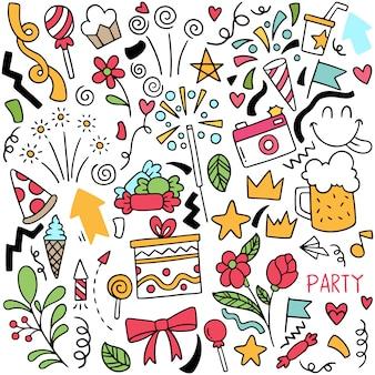 Рисованной партии каракули с днем рождения украшения фоновый узор