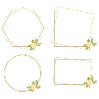ヴィンテージの結婚式の幾何学的な花のフレームコレクション