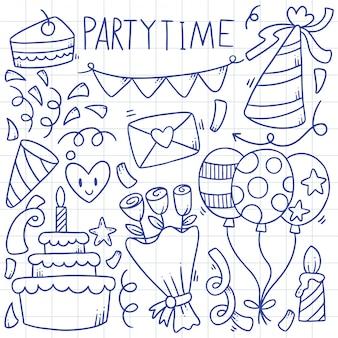 手描きパーティー落書きお誕生日おめでとう装飾イラスト