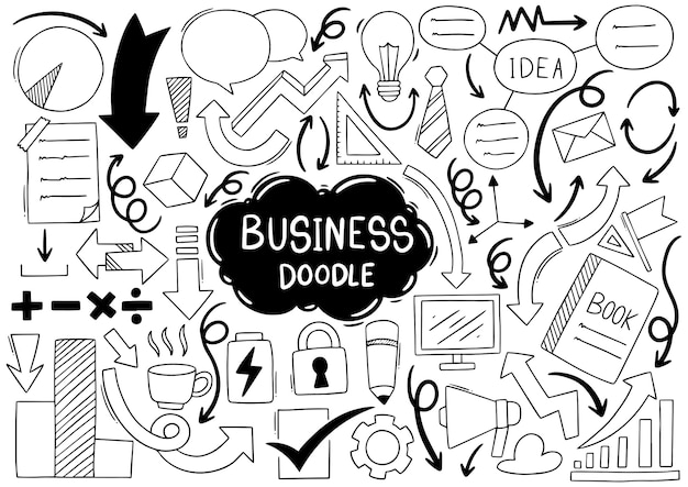 手描きのビジネスアイデア落書きセット