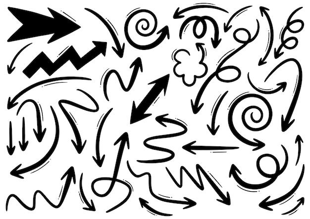 Рисованной каракули элементы дизайна. ручной обращается стрелки, рамки, границы, значки и символы. мультяшный стиль инфографики элементы.