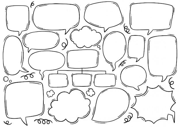 Ручной обращается речи пузырь в стиле каракули