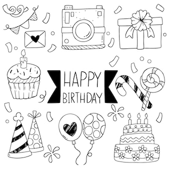 手描きパーティ落書きお誕生日おめでとう飾り背景パターン