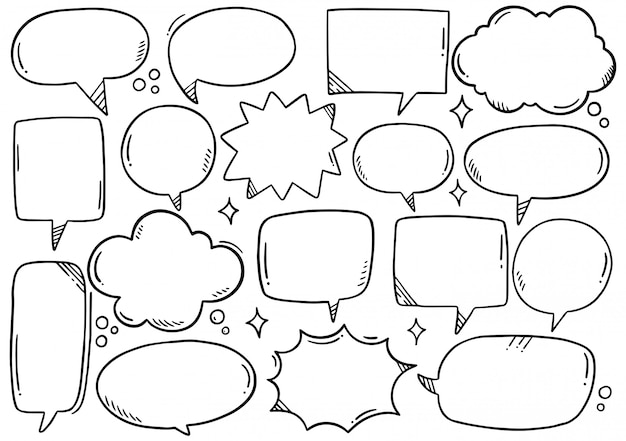 Набор рисованной пузыри речи в стиле каракули