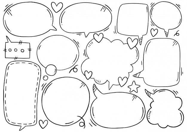 Набор рисованной милый речи пузырь в стиле каракули