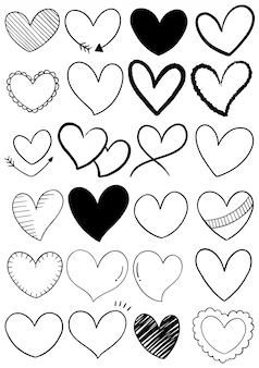 Коллекция рисованной каракули сердца