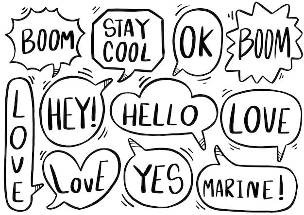 Набор милый речи пузырь текста в стиле каракули