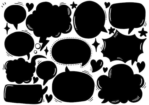 Набор милый речи пузырь в стиле каракули