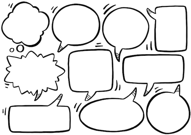 Ручной обращается фон набор речи пузырь в стиле каракули
