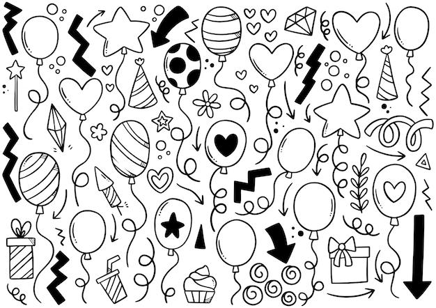 Рисованной партии каракули с днем рождения