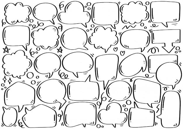 Набор рисованной милый пузырь речи в стиле каракули