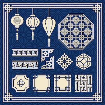 Китайский новый год орнамент, китайский лампа, азиатский вектор