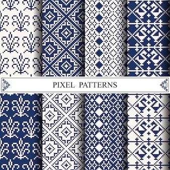 ファブリックテキスタイルまたはウェブページの背景を作成するためのタイのピクセルパターン。