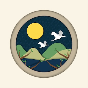満月とカップルクレーン。中秋節(秋夕)ペーパーアートスタイルの背景。翻訳:秋夕、幸せな韓国の感謝祭。