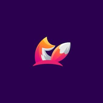 素晴らしいカラフルなキツネのロゴデザイン