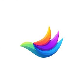 Красочный дизайн логотипа летящей птицы