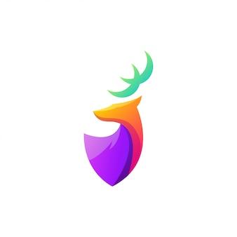 素晴らしいカラフルな鹿のロゴデザイン