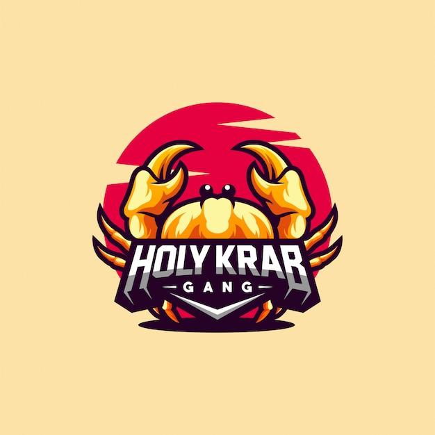 Краб дизайн логотипа готов к использованию