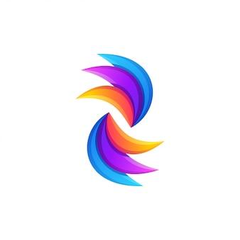 抽象的なカラフルな波のロゴデザイン