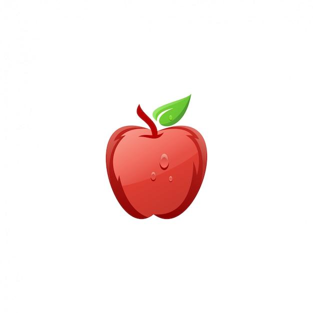 新鮮な赤いリンゴのロゴデザイン
