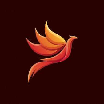 Потрясающий красочный дизайн логотипа феникс