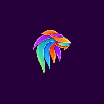 素晴らしいカラフルなライオンヘッドのロゴ