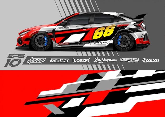 Спортивная машина обернуть абстрактный гоночный дизайн
