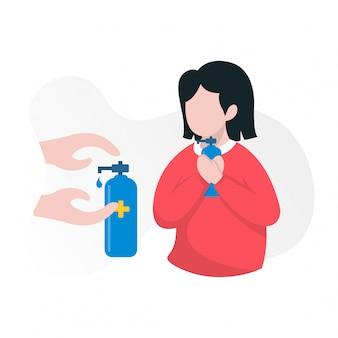 女性は手の消毒剤のイラストをもたらす