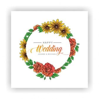 バラとひまわりの結婚式の招待状