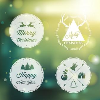 メリークリスマスラベルデザイン