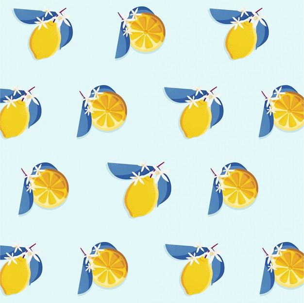 レモンスライスとヴィンテージのシームレスなパターンデザイン