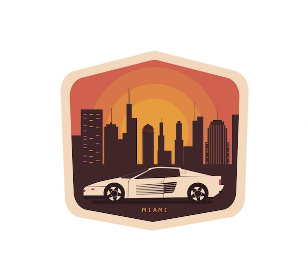 Винтажная иллюстрация с автомобилем