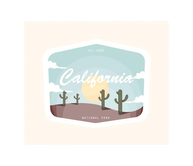 カリフォルニア砂漠ヴィンテージイラストデザイン。