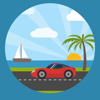 海辺のカードのスポーツカー