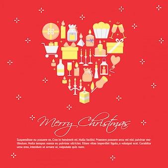 С рождеством постер в плоском стиле