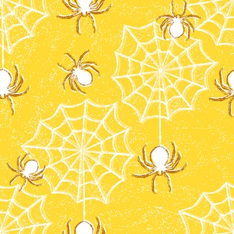クモとハロウィーンのシームレスパターン