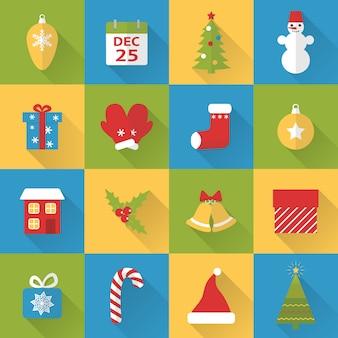 Установить плоские рождественские иконки