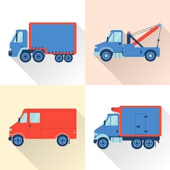 フラットスタイルのトラックのセット