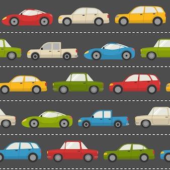 道路上の車とのシームレスなパターン