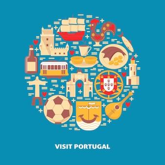 Посетите португалию круглый концептуальный баннер
