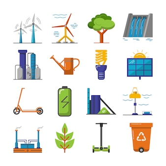 Коллекция значков энергии и экологии