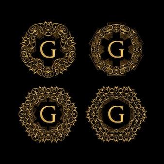ゴールデンカラーロゴ付きフレームラグジュアリー